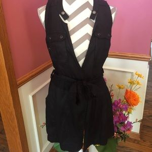 Free People long utility belted vest in black
